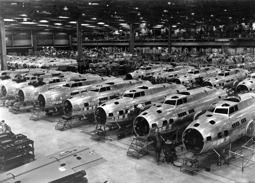 Boeing B-17E Flying Fortresses under construction at the Boeing plant in Seattle in 1943. Photo by U.S. Air Force photo